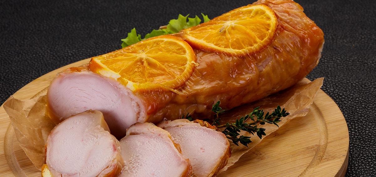 Candied Orange Slices on a Chicken Roll